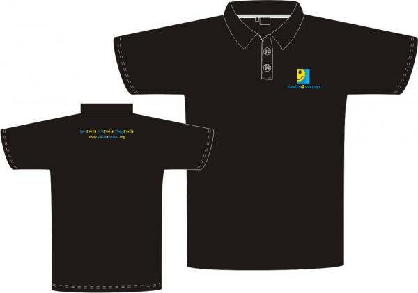 Children's Fruit of the Loom Polo Shirt, with 2 button collar and ribbed flat knit collar and cuff.