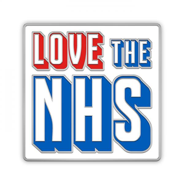Vintage style 'Love the NHS' metal pin badge.